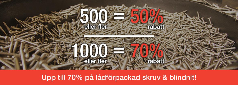Skruv & nit upp till 70% rabatt