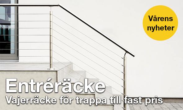 Entréräcke - vajerräcke för trappa till fast pris