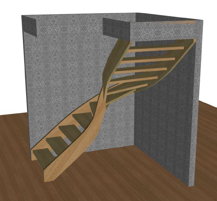 L-trappa höger med vagn