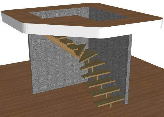 L-trappa vänster utan vagn