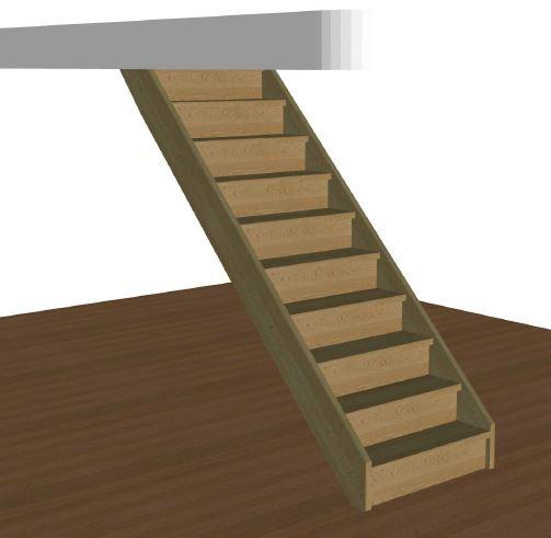 Rak trappa med sättsteg